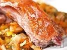 Рецепта Печено ярешко месо с гъби печурки, киселец и зеленчуци на фурна